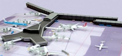 新品 ヘルパ 空港ジオラマターミナル オランダ・スキポール空港 F接続桟橋 [527514]